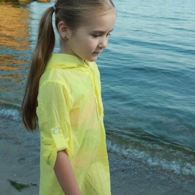 Детская пляжная туника, жёлтая