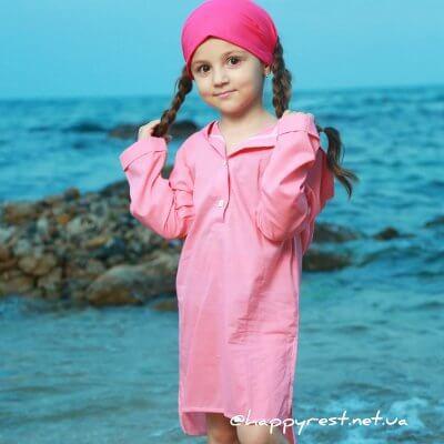 Детская пляжная туника, батист розовый