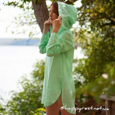 Женская пляжная туника, батистовая зеленая
