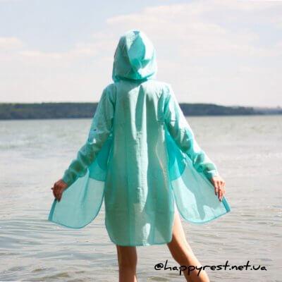 Женская пляжная туника, батистовая бирюза