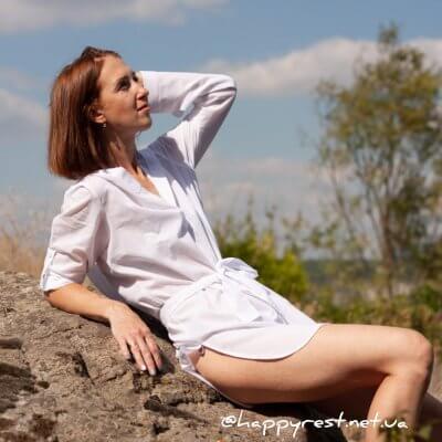 Женская пляжная туника, батистовая белая