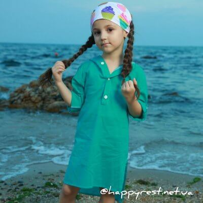 Детская пляжная туника, батист мята
