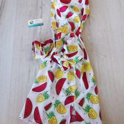 Детская пляжная туника, принт арбузы-ананасы