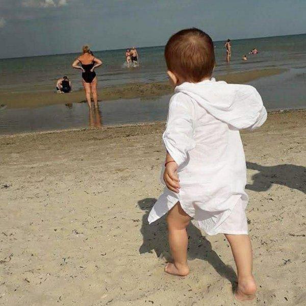 Детская пляжная туника, бело-молочный батист