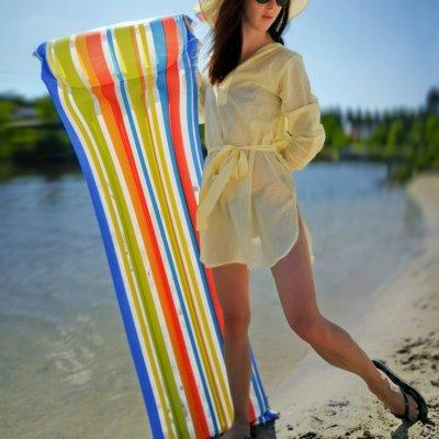 Женская пляжная туника, батист желтый