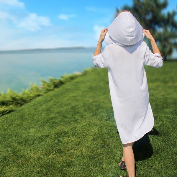 Женская пляжная туника, белая штапель
