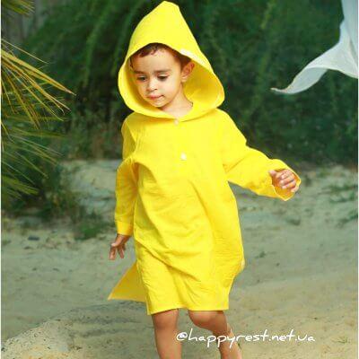 Детская пляжная туника, батист желтый