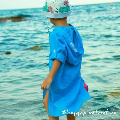 Детская пляжная туника, батист синий