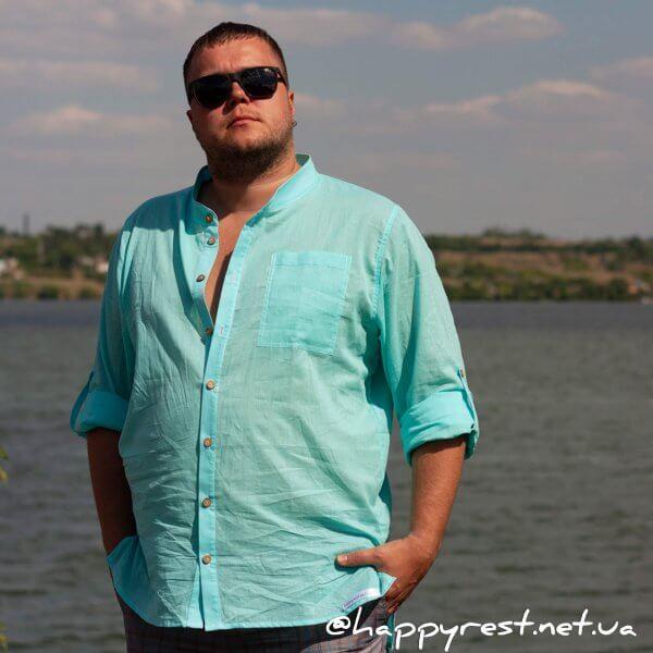 Мужская пляжная туника – рубашка, батист бирюза