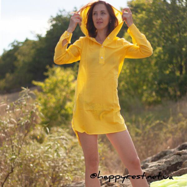 Женская пляжная туника, батистовая желтая