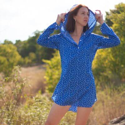Женская пляжная туника, батистовая синяя якоря
