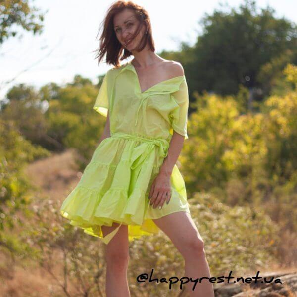 Женская пляжная туника, батист салатовый