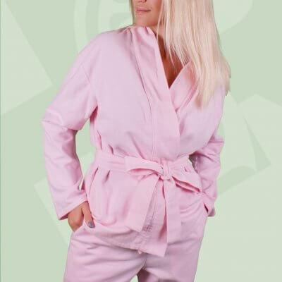 Фланелевая женская пижама, розовая