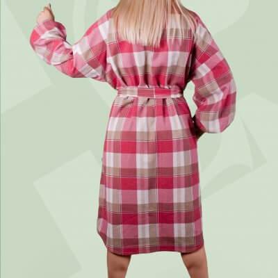 Женское теплое платье, клетка. Фланель