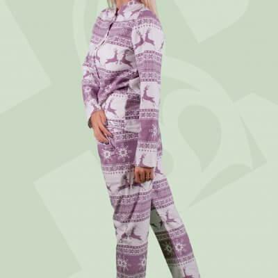 Женская теплая пижама олени бордо, фланелевая пижама, олени, кофта с длинным рукавом+пижамные штаны