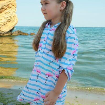 Легкая хлопковая туника для девочки с фламинго