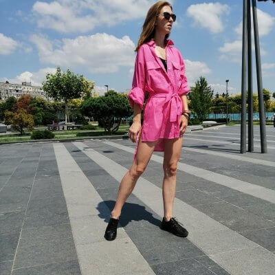 Пляжная женская туника – рубашка оверсайз, малиновая
