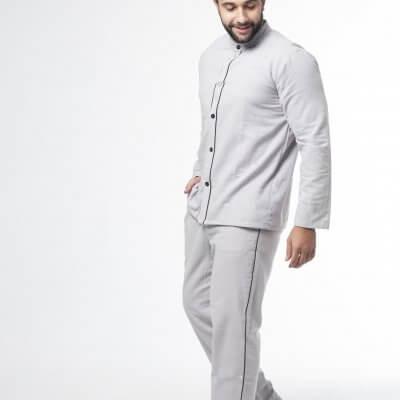 Мужская теплая пижама серая, фланелевая пижама