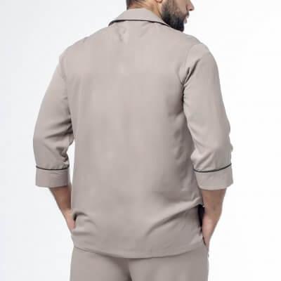 Мужская классическая пижама цвет хаки с черным кантом