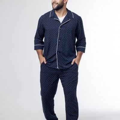 Мужская классическая пижама синяя