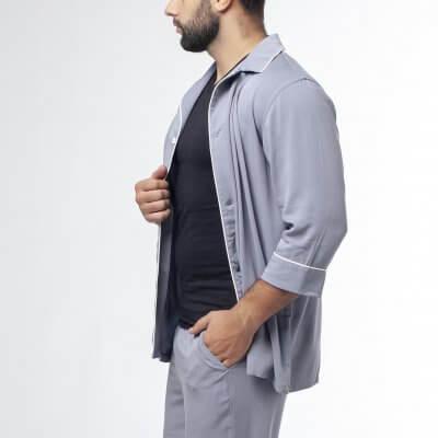 Мужская классическая пижама серая c молочным кантом