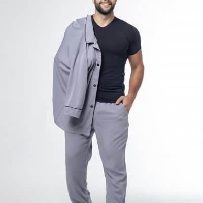 Мужская классическая пижама серая c черным кантом