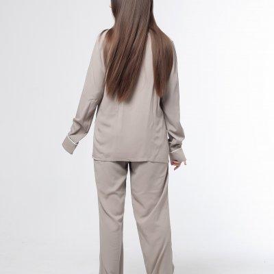 Женская классическая пижама хаки хлопок