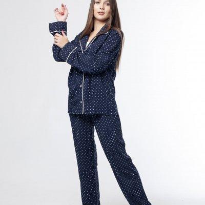 Женская классическая пижама синяя хлопок