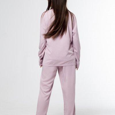 Женская классическая пижама нежно розовая хлопок