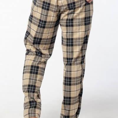 Мужские теплые пижамные штаны бежевая клетка, байка