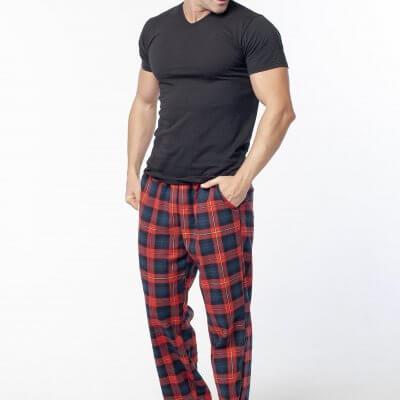 Мужские теплые пижамные штаны красная клетка, байка