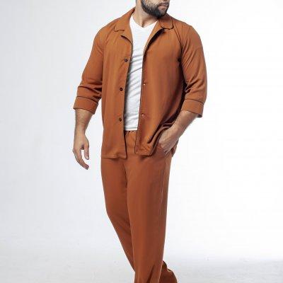Мужская классическая пижама коричневая с черным кантом