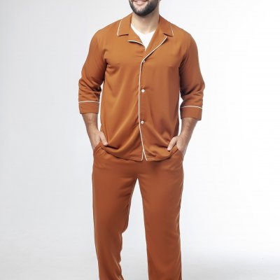 Мужская классическая пижама коричневая с молочным кантом