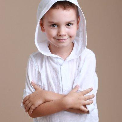 Детская пляжная туника, белый батист короткая