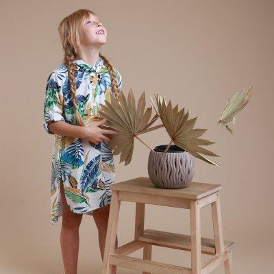 Детская пляжная туника, штапель листья