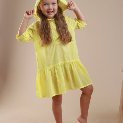 Детская пляжная туника с оборками, желтая